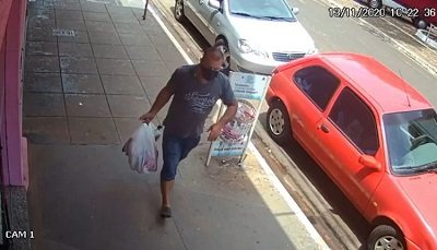 Câmera de segurança flagrou suspeito. Imagem: Divulgação / Jornal da Nova
