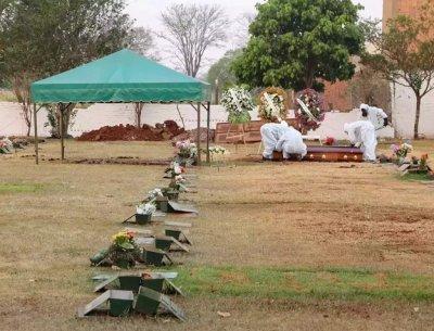 Enterro de vítima da covid-19 em cemitério de Campo Grande. (Foto: Henrique Kawaminami)